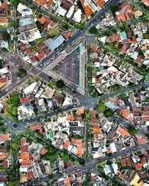 Aerial view of triangle-shaped city blocks in Curitiba Brazil