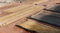 Aerial view of uranium mill tailings pile cleanup next to Colorado River near Moab Utah