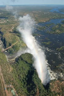 Aerial view of Victoria Falls on the Zambezi River in southern Africa