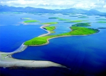 Aerial view over clew bay in county Mayo Ireland