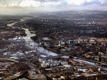 Aerial view over Glasgow by Bill Crookston
