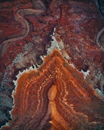 Aerial view showcases the geometry behind erosion outside of Canyonlands Utah  insta zachtesta