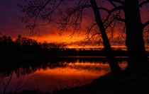 After a day of gloom and rain the sky burst into flame  Northwest Illinois Sunset
