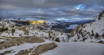 After a day of snowboarding I took this shot of Donner Lake and the Sierra Nevada range