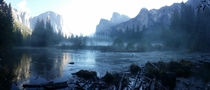 After a storm with a controlled burn still smoldering it was a cold and hazy Yosemite morning