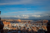 After a sudden winter storm rolled through the afternoon sun broke through the clouds giving us this incredible view Bryce Canyon National Park UT USA
