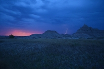 After  attempts I caught a lightning strike in Badlands National Park