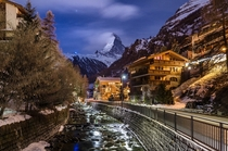 After dark in Zermatt Switzerland