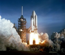 After six years of silence the thunder of manned space flight was heard again as the successful launch of the first space shuttle on April