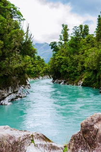 After the interest in my picture of the Waimakariri River yesterday I thought Id upload a photo from the Hokitika Gorge More water coloured with rock flour