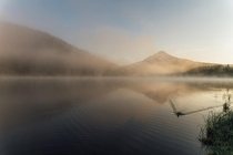 After watching the Perseids all night I caught this gorgeous foggy sunrise on Trillium Lake OR