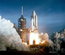 After  years of silence the thunder of human spaceflight was heard again as the successful launch of the first space shuttle ushered in a new concept in utilization of space Mission STS- on Space Shuttle Columbia launched from Kennedy Space Center on Apri