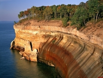 Afternoon light on the cliffs above Lake Superior Pictured Rocks National Lakeshore MI  Willard Clay