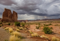 Afternoon storm rolling through Arches National Park