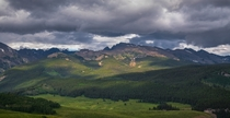 Afternoon storms gathering in the wilds of Colorados Rocky Mountains USA