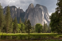 Afternoon sun on the Cathedral Rocks Yosemite NP -