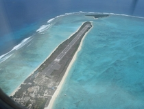 Agatti airstrip in the Arabian sea India