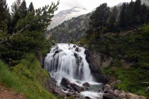 Aigualluts Cascade in Benasque Valley of the Pirineo Mountains in Spain  x