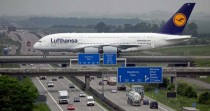 Airbus A crossing the Autobahn A  at Leipzig