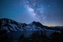Airglow streaks across the Milky Way Sierra Nevada California