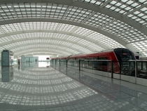 Airport Express train station inside the Terminal  Transportation Centre at Beijing Capital International Airport