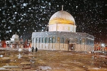 Al Aqsa mosque Jerusalem Quality isnt the best but it really snows there and I thought the pic looks amazing