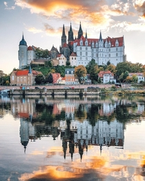 Albrechtsburg a th century Late Gothic and early Renaissance castle on a hill above the river Elbe flowing through the town of Meissen Saxony Germany