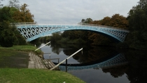Aldford Iron Bridge over river Dee Cheshire England built in