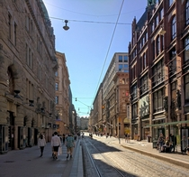 Aleksanterinkatu a very busy shopping street in Helsinki Finland yesterday afternoon