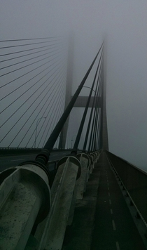 Alex Fraser bridge engulfed in fog Vancouver BC