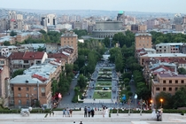 Alexander Tamanyan Park from the Cascades in Yerevan Armenia