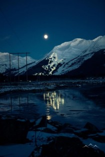 Aleyeska Ski Resort at night view from the highway