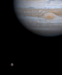 Alignment of Callisto and Europa captured by the Cassini spacecraft in