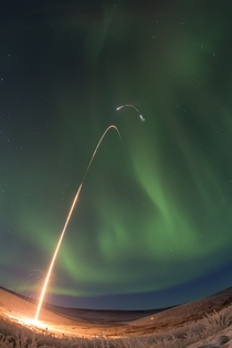 All four stages of the rocket are visible in this time lapse photo of the NASA Oriole IV sounding rocket with Aural Spatial Structures Probe launched from Poker Flats Alaska