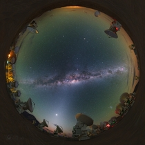 All-skyscape of the Milky way taken  meters above sea level from the Chajnantor Plateau in the Chilean Andes