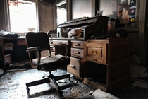 All that remains in an abandoned and burnt office in Chicago IL