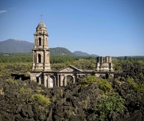All thats left of San Juan Parangaricutiro Church after the eruption of Parcutin