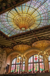Almost impossible glass ceiling El Palau by Lluis Domnech Montaner in Barcelona Spain