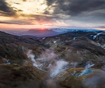 Almost midnight sun  am in the Icelandic Highlands at a geothermal active area  Insta glacionaut