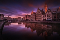 Along the Leie River in Ghent Belgium