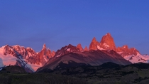 Alpen glow over El Chalten Patagonia Argentina at sunrise