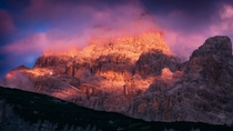 Alpenglow in the Dolomites in northern Italy