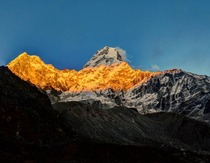 Alpenglow on Ama Dablam in Nepal Taken from base camp