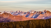 Alpenglow on the High Bernese alps including Eiger Mnch and Jungfrau Switzerland