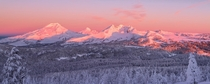 Alpenglow Pano - Mt Bachelor Oregon  photo by Alan Howe