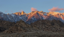 Alpine Glow on the Eastern Sierras as seen from Alabama Hills CA this weekend