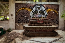 Altar at an abandoned prison in northern Thailand once held a Buddha statue but has been converted into something else Info below