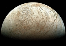 Although the phase of this moon might appear familiar the moon itself might not In fact this gibbous phase shows part of Jupiters moon Europa The robot spacecraft Galileo captured this image mosaic during its mission orbiting Jupiter from  -