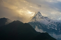 AM view right outside our teahouse on the Mardi Himal trek Nepal