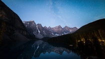 am Wednesday morning view Not a bad reward for spending a night sleeping literally under a rock Moraine Lake -  X